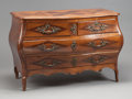 Furniture : French, A FRENCH PROVINCIAL WALNUT AND MAHOGANY MARQUETRY BOMBÉ COMMODE . 18th century. 33-1/4 x 47-1/2 x 25 inches (84.5 x 120.7 x ...