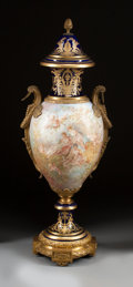 Ceramics & Porcelain, A SÈVRES-STYLE PAINTED PORCELAIN AND GILT BRONZE MOUNTED URN. 19th century. Marks: (interlaced L, crown, SEVRES 1844), (CHAT...