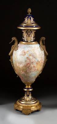 A SÈVRES-STYLE PAINTED PORCELAIN AND GILT BRONZE MOUNTED URN 19th century Marks: (interlaced L, crown, SEVRES 1...
