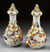 A PAIR OF GERMAN SCHNEEBALLEN PORCELAIN COVERED VASES Early 20th century 15 inches high (38.1 cm)