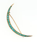 Estate Jewelry:Brooches - Pins, Turquoise, Gold Crescent Brooch. ...