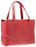 Luxury Accessories:Accessories, Chanel Red Caviar Leather Large CC Tote Bag. ...