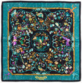"Luxury Accessories:Accessories, Hermes Black, Green & Purple ""Pierres d'Orient et d'Occident,""by Zoe Pauwels Silk Scarf . ..."