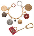Luxury Accessories:Accessories, Louis Vuitton Set of Two: Gold, Silver & Red Key Holder &Red & Gold Speedy Bag Key Holder . ... (Total: 2 )
