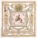 "Luxury Accessories:Accessories, Hermes Pink, White & Gold ""Ludovicus Magnus"" by Francoise De LaPerriere Silk Scarf. ..."
