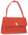 Luxury Accessories:Bags, Chanel Red Caviar Leather Shoulder Bag with Gold CC TurnlockClosure & Bow Detail Strap. ...