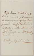 """Autographs:Authors, Jane Porter Autograph Letter Signed. 4.5"""" x 7.25"""". Dated April 30,no year. Dinner invitation reply. Toned. Folds. Very good..."""
