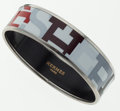 "Luxury Accessories:Accessories, Hermes White, Black & Red ""Capitales"" Enamel Bracelet with Palladium Hardware . ..."