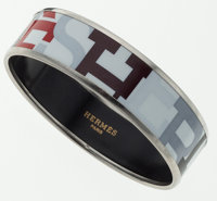 "Hermes White, Black & Red ""Capitales"" Enamel Bracelet with Palladium Hardware"