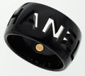 Luxury Accessories:Accessories, Chanel Black Resin Logo Cut Out Bangle . ...