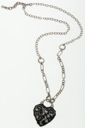 Luxury Accessories:Accessories, Chanel Black Heart Motif Pendant with Silver Chain Necklace . ...