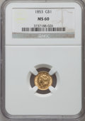 Gold Dollars: , 1853 G$1 MS60 NGC. NGC Census: (241/8008). PCGS Population(160/3645). Mintage: 4,076,051. Numismedia Wsl. Price for proble...