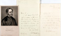 Autographs, William H. Prescott. Two Autograph Letters Signed, Accompanied byan Engraved Portrait and A Certificate of Authenticity. 4....