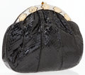 Luxury Accessories:Bags, Judith Leiber Black Lizard Clutch with Silver and Gold Hardware. ...
