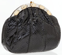 Judith Leiber Black Lizard Clutch with Silver and Gold Hardware