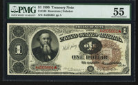 Fr. 348 $1 1890 Treasury Note PMG About Uncirculated 55