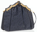 Luxury Accessories:Accessories, Judith Leiber Navy Ostrich Clutch Bag with Cabochon Stones & Shoulder Strap . ...
