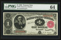 Large Size:Treasury Notes, Fr. 349 $1 1890 Treasury Note PMG Choice Uncirculated 64.. ...