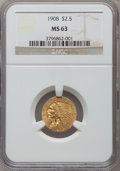 Indian Quarter Eagles: , 1908 $2 1/2 MS63 NGC. NGC Census: (1441/1799). PCGS Population(1461/1861). Mintage: 564,800. Numismedia Wsl. Price for pro...