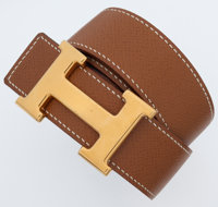 Hermes 80cm Gold Clemence Leather & Black Calf Box Leather Reversible Constance H Belt with Gold Hardware