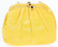 Judith Leiber Yellow Lizard Clutch Bag with Shoulder Strap