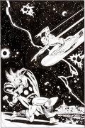 Original Comic Art:Covers, John Buscema Silver Surfer #4 Thor vs. the Silver SurferCover Re-Creation Original Art (undated)....