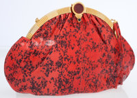 Judith Leiber Red Lizard Clutch Bag with Shoulder Strap