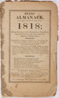 Books:Americana & American History, Andrew Beers. Beers' Almanack, For the Year of Our Lord1818... New Haven, Connecticut: T. G. Woodward for Maltb...