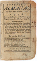Books:Americana & American History, [American Almanacs]. Hosea Stafford. Stafford's Almanac, For theYear of Our Lord 1778. New Haven: Thomas and Sa...
