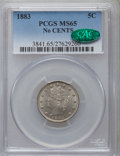 Liberty Nickels: , 1883 5C No Cents MS65 PCGS. CAC. PCGS Population (1399/384). NGCCensus: (1858/534). Mintage: 5,479,519. Numismedia Wsl. Pr...