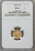 Gold Dollars: , 1860 G$1 MS61 NGC. NGC Census: (38/78). PCGS Population (9/75).Mintage: 36,668. Numismedia Wsl. Price for problem free NGC...