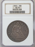 Seated Dollars: , 1843 $1 AU53 NGC. NGC Census: (34/191). PCGS Population (38/144).Mintage: 165,100. Numismedia Wsl. Price for problem free ...