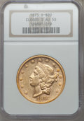Liberty Double Eagles: , 1873-S $20 Closed 3 AU50 NGC. NGC Census: (126/1431). PCGSPopulation (93/582). Mintage: 1,040,600. Numismedia Wsl. Price f...