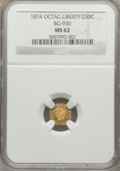 California Fractional Gold: , 1874 50C Liberty Octagonal 50 Cents, BG-930, R.5, MS62 NGC. NGCCensus: (5/1). PCGS Population (8/17). ...