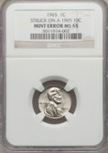 Errors, 1965 1C Lincoln Cent -- Struck on a 1965 10C -- MS65 NGC....