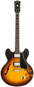 Musical Instruments:Electric Guitars, 1958 Gibson ES-335 Sunburst Semi-Hollow Body Electric Guitar,Serial # A 28764....
