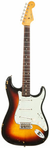 Musical Instruments:Electric Guitars, 1961 Fender Stratocaster Sunburst Solid Body Electric Guitar,Serial # 59434....