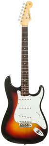 Musical Instruments:Electric Guitars, 1963 Fender Stratocaster Sunburst Solid Body Electric Guitar,Serial # 97603....