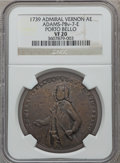 Betts Medals, 1739 Admiral Vernon, Porto Bello VF20 NGC. Betts-unlisted,Adams-PBv-7-E. Brass, 37 mm. Adams-Chao list this medal asRarity...