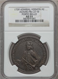 Betts Medals, 1739 Admiral Vernon, Porto Bello AU53 NGC. Betts-unlisted,Adams-PBv-27-W. Brass, 37 mm.. From The MarlorCollection....