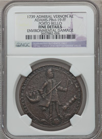 1739 Admiral Vernon, Porto Bello -- Environmental Damage -- NGC Details. Fine. Betts-232, Adams-PBvi-19-FF. From The Mar...