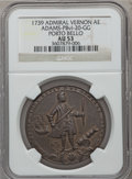 Betts Medals, 1739 Admiral Vernon, Porto Bello AU53 NGC. Betts-unlisted,Adams-PBvi-20-GG. Brass, 38 mm.. From The MarlorCollection....
