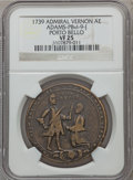 Betts Medals, 1739 Admiral Vernon, Porto Bello VF25 NGC. Betts-unlisted,Adams-PBvl-9-J. Brass, 37 mm.. From The MarlorCollection....