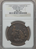 Betts Medals, 1739 Admiral Vernon, Porto Bello VG10 NGC. Betts-304,Adams-PBvl-1-A. Brass, 37 mm.. From The MarlorCollection....