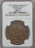 Betts Medals, 1741 Admiral Vernon, Cartagena, AU53 NGC. Betts-332, Adams-CAv-2-B.Brass, 37 mm.. From The Marlor Collection....