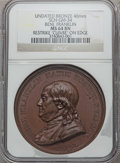 "U.S. Presidents & Statesmen, (1845-1860) Paris Mint Restrike Benjamin Franklin Medal MS64 BrownNGC. Sch-GM-34. Bronze, 46 mm. ""CUIVRE"" and Pointing Hand..."