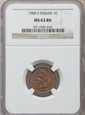 Indian Cents, 1909-S 1C MS63 Brown NGC....