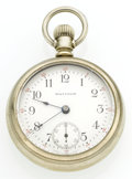 Timepieces:Pocket (post 1900), Waltham 17 Jewel Open Face 18 Size Pocket Watch. ...