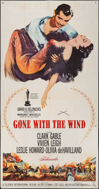 "Gone with the Wind (MGM, R-1961). Three Sheet (41"" X 78""). Academy Award Winners"