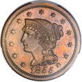 Proof Large Cents, 1855 1C Slanted 5's PR64 Brown PCGS. CAC. N-10, R.5 as a Proof....
